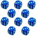 10er Pack 6-Seitiger Würfel Blau Punkte 16mm