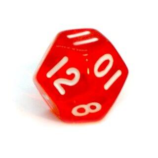 12-Seitige Würfel Transparent-Rot Zahlen 1-12