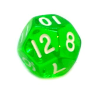 12-Seitige Würfel Transparent-Grün Zahlen 1-12