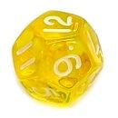 12-Seitige Würfel Transparent-Gelb Zahlen 1-12