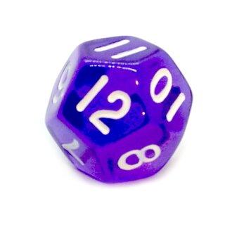 12-Seitige Würfel Transparent-Lila Zahlen 1-12