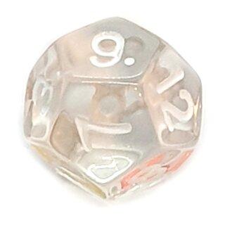 12-Seitige Würfel Transparent-Klar Zahlen 1-12
