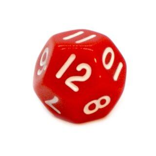 12-Seitige Würfel Rot mit Zahlen 1-12