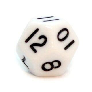 12-Seitige Würfel Weiß mit schwarzen Zahlen 1-12