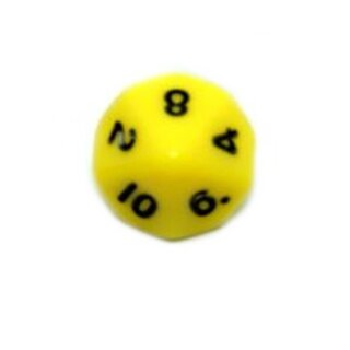 10-Seitige Würfel Hell-Gelb mit Zahlen 1-10 W10