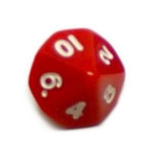 10-Seitige Würfel Rot mit Zahlen 1-10 W10