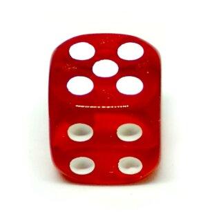 5 Transparent-Rote W6 Würfel 16mm mit Punkten