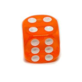 5 Transparent-Orange W6 Würfel 16mm mit Punkten