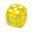 5 Transparent-Gelbe W6 Würfel 16mm mit Punkten