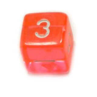W6 Würfel Orange-Transparent Zahlen Gerade Kanten 15mm