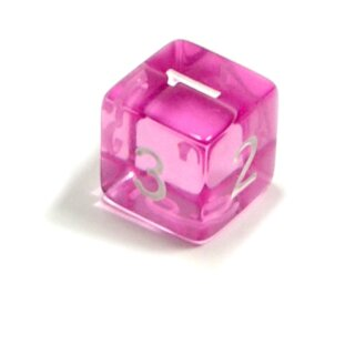 W6 Würfel Rosa-Transparent Zahlen Gerade Kanten 15mm