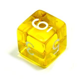 6 Würfel Gelb-Transparent Set Zahlen Gerade Kanten 15mm