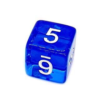 6 Würfel Blau-Transparent Zahlen Gerade Kanten 15mm