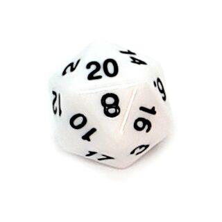 20-Seitige Würfel Weiß mit schwarzen Zahlen 1-20 W20