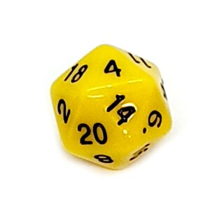 20-Seitige Würfel Gelb mit Zahlen 1-20 W20