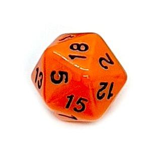 20-Seitige Würfel Orange mit Zahlen 1-20 W20