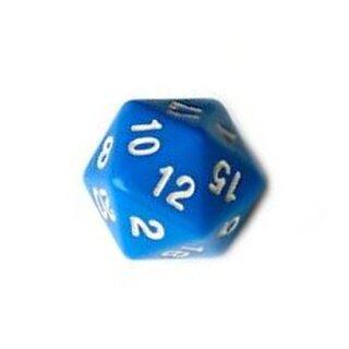 20-Seitige Würfel Blau mit Zahlen 1-20 W20