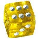 Würfel 19mm mit Punkten Transparent-Gelb