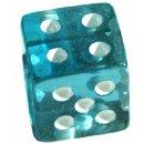 6 Würfel 19mm mit Punkten im Set Transparent-Türkis/Blau