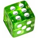 6 Würfel 19mm mit Punkten im Set Transparent-Grün