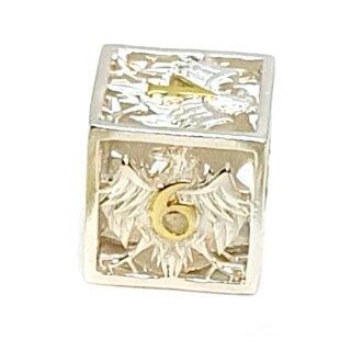 6 Seitiger Metall-Würfel Hohl Adler Silber-Goldfarben Zahlen