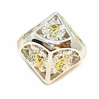 10 Seitiger Metall-Würfel 0-9 Hohl Adler Silber-Goldfarben