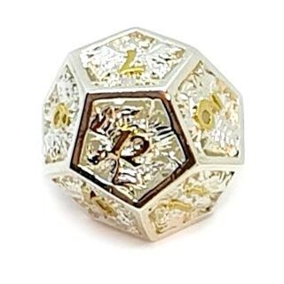 12 Seitiger Metall-Würfel 1-12 Hohl Adler Silber-Gold