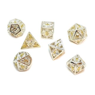 7er Metallwürfel -Set Hohl 3D Adler Silber-Gold W4-W20