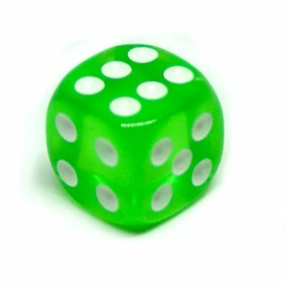 10 Transparent-Grün W6 Würfel 16mm mit Punkten