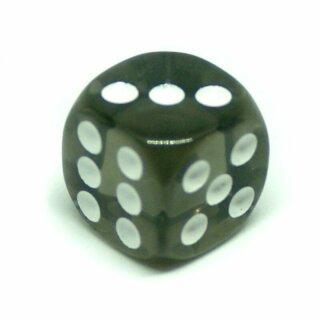 10 Transparent-Rauchgrau W6 Würfel 16mm mit Punkten
