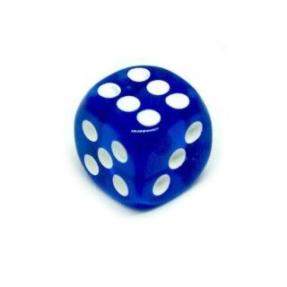 10 Transparent-Dunkel-Blau W6 Würfel 16mm mit Punkten