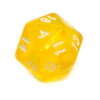 5 Transparent-Gelb Würfel 20-Seiten W20 im Set