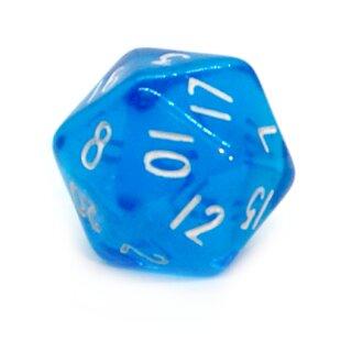 5 Transparent-Blau Würfel 20-Seiten W20 im Set