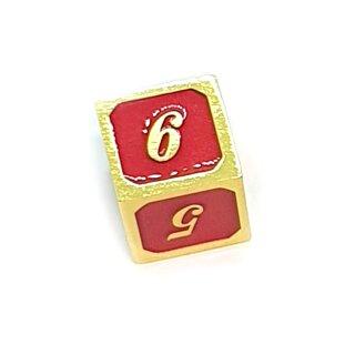 6 Seitiger Metall-Würfel Gold-Rot Zahlen