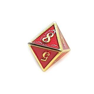 8 Seitiger Metall-Würfel Gold-Rot mit Zahlen