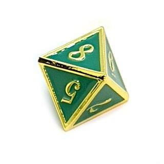 8 Seitiger Metall-Würfel Gold-Grün mit Zahlen