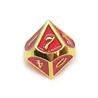 10 Seitiger Metall-Würfel Gold-Rot mit Zahlen 0-9