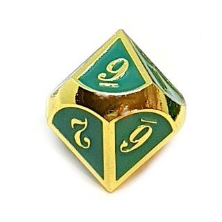10 Seitiger Metall-Würfel Gold-Grün mit Zahlen 0-9