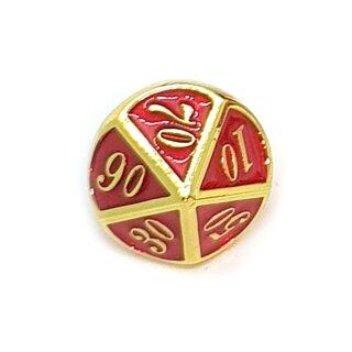 10 Seitiger Metall-Würfel Gold-Rot mit Zahlen 00-90