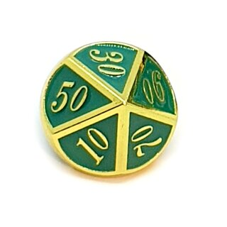 10 Seitiger Metall-Würfel Gold-Grün mit Zahlen 00-90