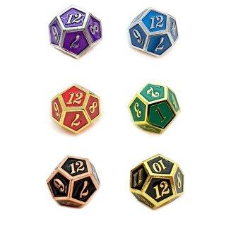 12 Seitiger Metall-Würfel Bunt mit Zahlen 1-12