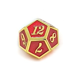 12 Seitiger Metall-Würfel Gold-Rot mit Zahlen 1-12