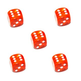 5 Transparent Orange Würfel Punkte W6 15mm