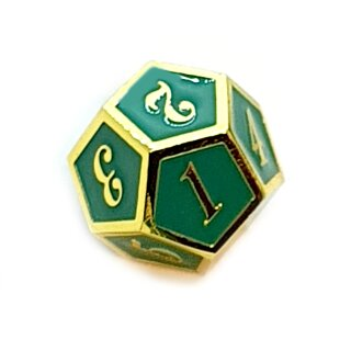 12 Seitiger Metall-Würfel Gold-Grün mit Zahlen 1-12