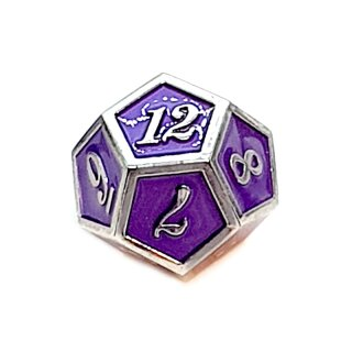 12 Seitiger Metall-Würfel Silber-Lila mit Zahlen 1-12