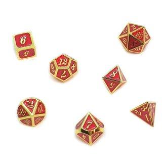7er Set Metall-Würfel Gold-Rot mit Zahlen W4-W20