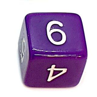 W6 Würfel Lila-Weiß mit Zahlen gerade Kanten 15mm