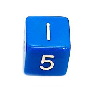 W6 Würfel Blau-Weiß mit Zahlen gerade Kanten 15mm