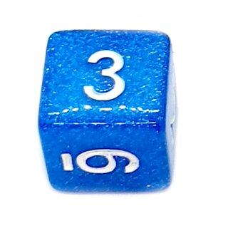 W6 Würfel Blau-Glitter mit Zahlen gerade Kanten 15mm