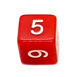 W6 Würfel Rot-Weiß mit Zahlen gerade Kanten 15mm